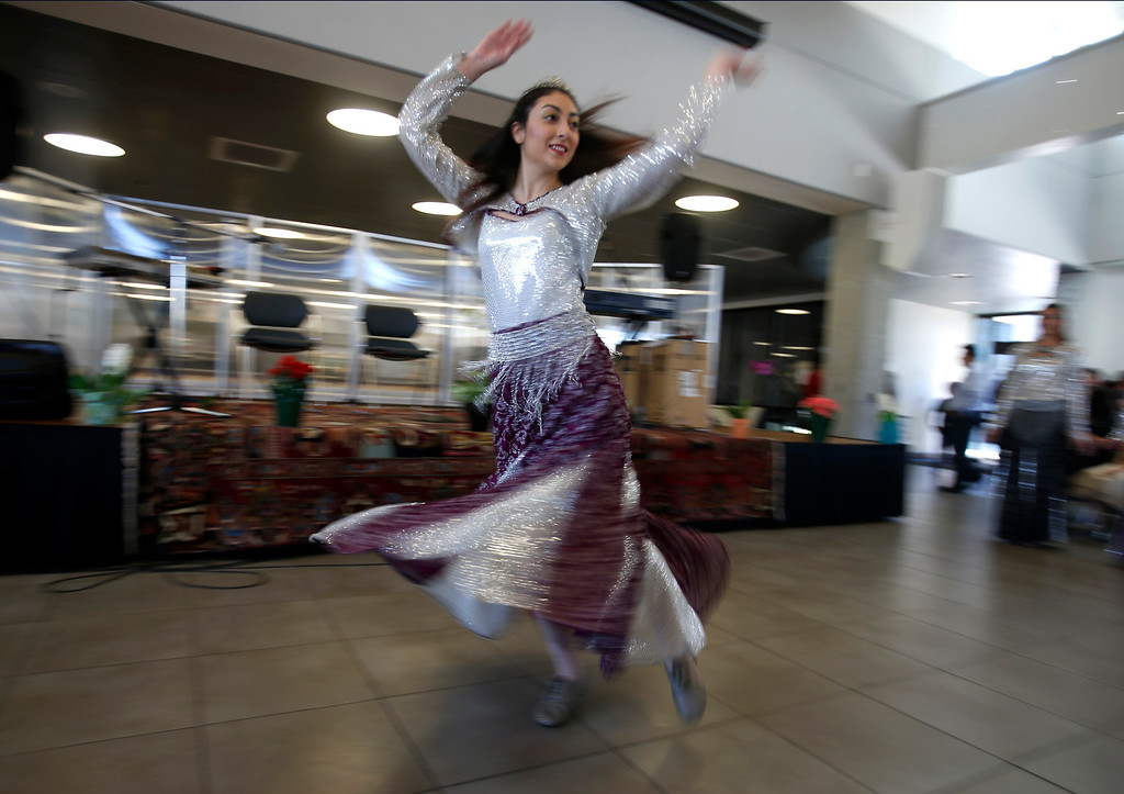 . A dancer with the Beshkan Dance Academy perform during the West Valley College 6th Annual Persian New Year Celebration at the college in Saratoga, Calif. on Monday, March 10, 2014.  (Nhat V. Meyer/Bay Area News Group)