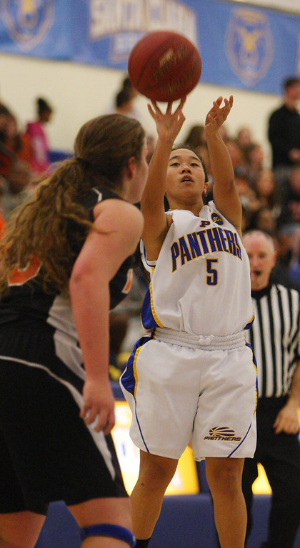 . Presentation\'s Ashley MacDonald shoots in the third quarter during the CCS Division II girls basketball finals at Santa Clara High School in Santa Clara, Calif. on Friday, March 1, 2013. The Presentation Panthers beat the Woodside Wildcats, 49-34. (Jim Gensheimer/Staff)