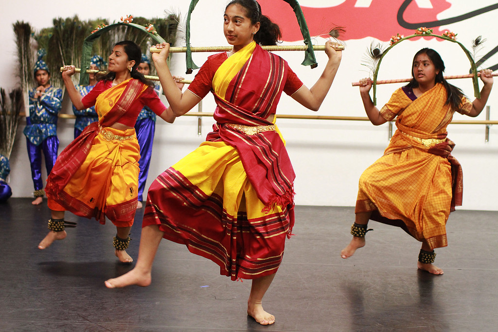 . Abha Sharma, 17, of Palo Alto, from left, Anaya Murali, 12, of Palo Alto, and Snethi Thakuna, of Cupertino, rehearse a classical Indian dance at the Starting Arts dance studio in Santa Clara on Wednesday, April 3, 2013. The Vishwa Shanthi Dance Academy is scheduled to perform this dance and others at �Padme: Lotus in Asian Mythology� 4 p.m. till 7 p.m on Sunday, April 7, 2013, at Cubberley Theatre in Palo Alto. For more information, visit www.shreelatasuresh.com.  (Kirstina Sangsahachart/ Daily News)