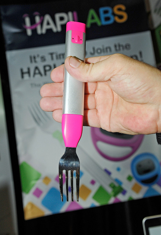 . A HAPIfork is on display at a press event at the Mandalay Bay Convention Center for the 2013 International CES on January 6, 2013 in Las Vegas, Nevada. The electronic fork which will monitor your eating habits will be available in the summer for USD 100. (Photo by David Becker/Getty Images)
