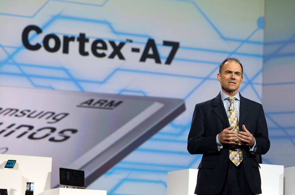 . ARM Chief Executive Warren East speaks during a Samsung Electronics keynote address at the Consumer Electronics Show (CES) in Las Vegas January 9, 2013. (REUTERS/Steve Marcus)