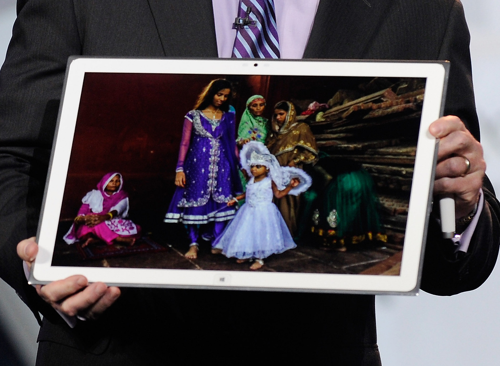 . Panasonic North America CEO Joe Taylor displays Panasonic\'s new 4K 20 inch tablet during a keynote address at the 2013 International CES at The Venetian on January 8, 2013 in Las Vegas, Nevada. (Photo by David Becker/Getty Images)