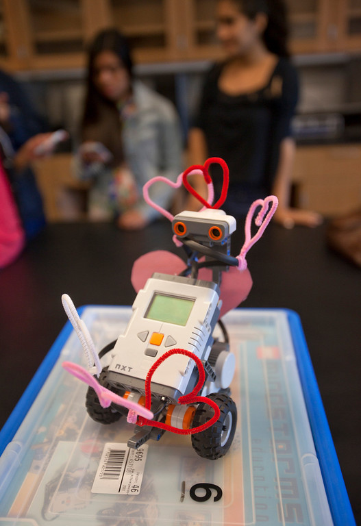 . A robot that a group of girls help build during a summer camp Thursday, July 18, 2013, at Foothill College in Los Altos Hills. The camp is aimed towards underrepresented minorities in STEM: racial minorities, low socioeconomic status, and women. (Patrick Tehan/Staff)