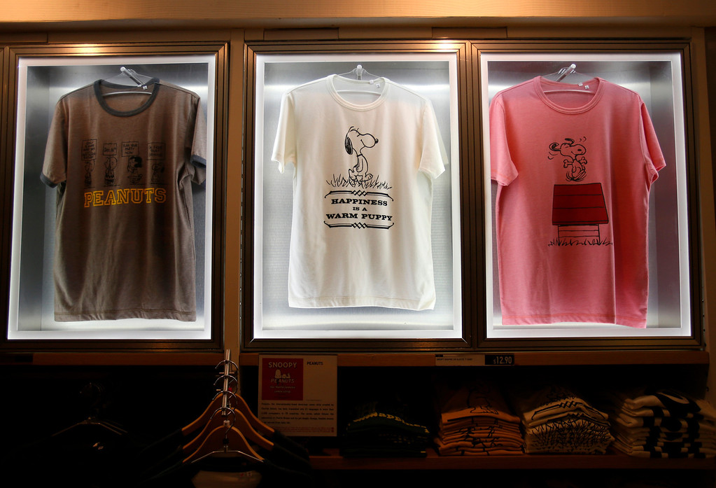 . Limited edition t-shirts for sale on display at Uniqlo clothing store on Powell St. in downtown San Francisco, Calif. on Thursday, Jan. 17, 2013.  They opened their store in San Francisco in October 2012.  (Nhat V. Meyer/Staff)