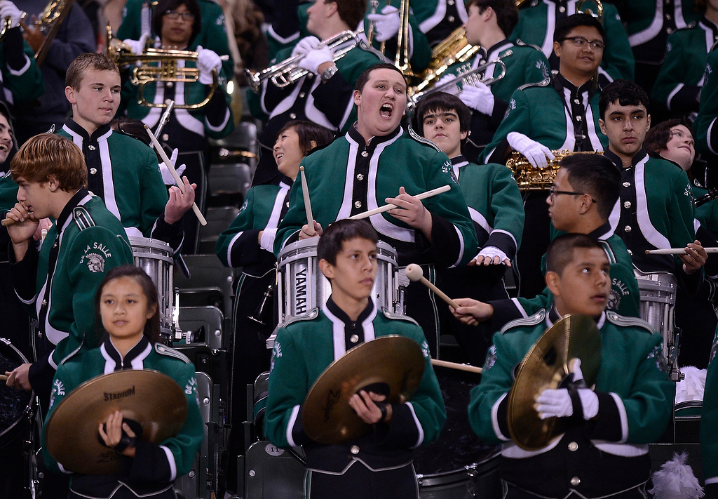 . The De La Salle High School marching band perform during a time out against Centennial Huskies in the first quarter of the Open Division during the 2012 CIF State Football Championship at Home Depot Center in Carson , Calif. on Saturday, Dec. 15, 2012. (Jose Carlos Fajardo/Staff)