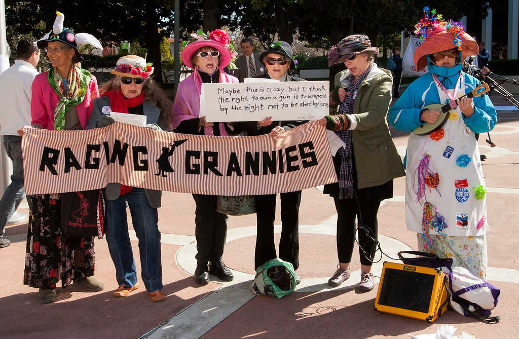 . The Raging Grannies perform at the Silicon Valley Community Against Gun Violence  rally in front of Palo Alto City Hall on Saturday, Feb. 23, 2013. To coincide with the rally a gun buyback was held by the cities of Palo Alto, Menlo Park and East Palo Alto with the help of the non-profit Protect Our Children, which provided the money for the buyback. (John Green/Staff)