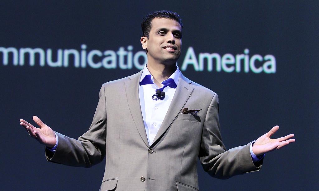 . Vice President Samsung Telecommunications America Nanda Ramachandran introduces tablets during a news conference at the International Consumer Electronics Show, Monday, Jan. 6, 2014, in Las Vegas. (AP Photo/Isaac Brekken)