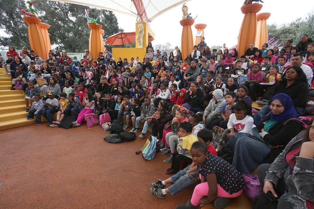 . Children from Emerson Elementary School watch actors perform in San Francisco Shakespeare\'s Midsummer Night\'s Dream on the Aesop\'s Playhouse stage at Children\'s Fairyland in Oakland, Calif., on Friday, March 15, 2013.  (Jane Tyska/Staff)