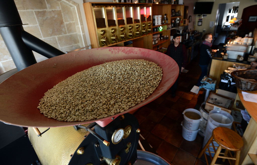 . A batch of Lola blend coffee awaits roasting at the Catahoula Coffee Company in Richmond, Calif. on Thursday, Jan. 17, 2013. (Kristopher Skinner/Staff)