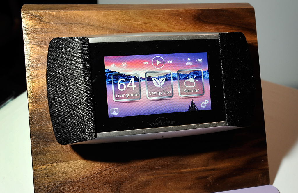 . An Eversense electronic thermostat by Allure Energy is on display at a press event at the Mandalay Bay Convention Center for the 2013 International CES on January 6, 2013 in Las Vegas, Nevada. The electronic energy management system allows a user to control the a home environment using a smartphone. (Photo by David Becker/Getty Images)