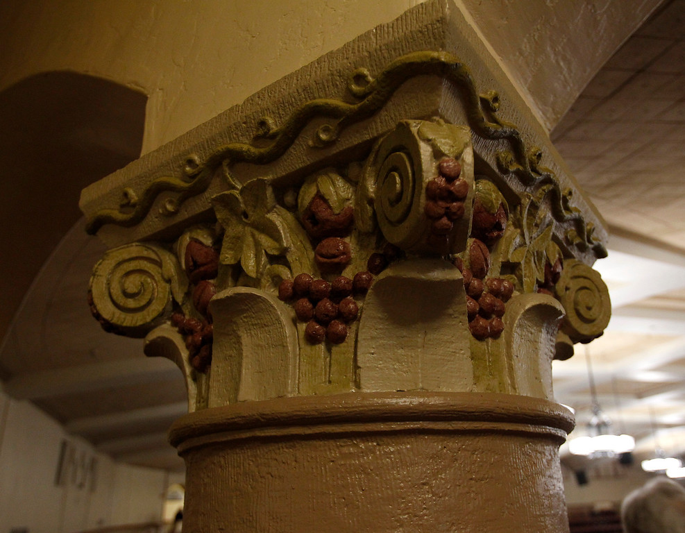 . New paint on a corinthian column inside the San Jose Civic before Jackson Browne performed at the Civic in downtown San Jose, Calif. on Tuesday, Jan. 22, 2013.  (Nhat V. Meyer/Staff)