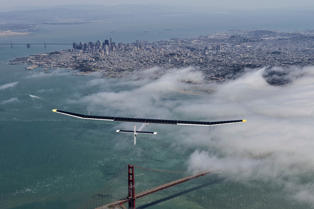 . Solar Impulse\'s HB-SIA prototype flies over the San Francisco Bay Area while making its sixth test flight from Moffett Field on Tuesday, April 23, 2013, after being reassembled. (Jean Revillard/Rezo/Solar Impulse/Polaris)