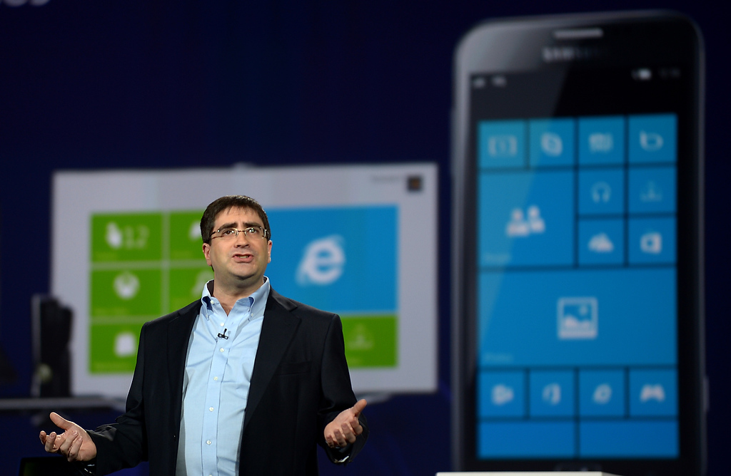 . Eric Rudder,Microsoft\'s Chief Technical Strategy Officer, during a press conference at the 2013 International CES at the Las Vegas Convention Center on January 9, 2013 in Las Vegas, Nevada. (JOE KLAMAR/AFP/Getty Images)