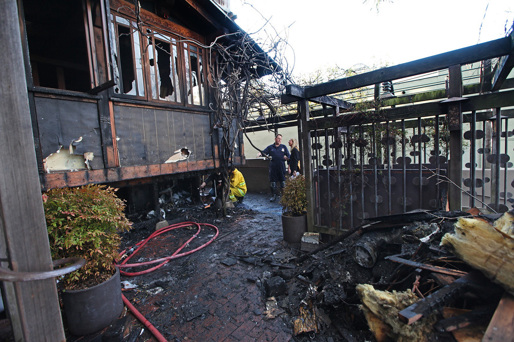 . The fire at Chez Panisse in Berkeley, Calif. , early in the morning of Friday , March 8, 2013 was mostly contained to the front area of the restaurant because of a well placed sprinkler that went off helping keep the fire from spreading through the rest of the structure. Officials are calling the fire, which started under the front porch, suspicious.(Laura A. Oda/Staff)