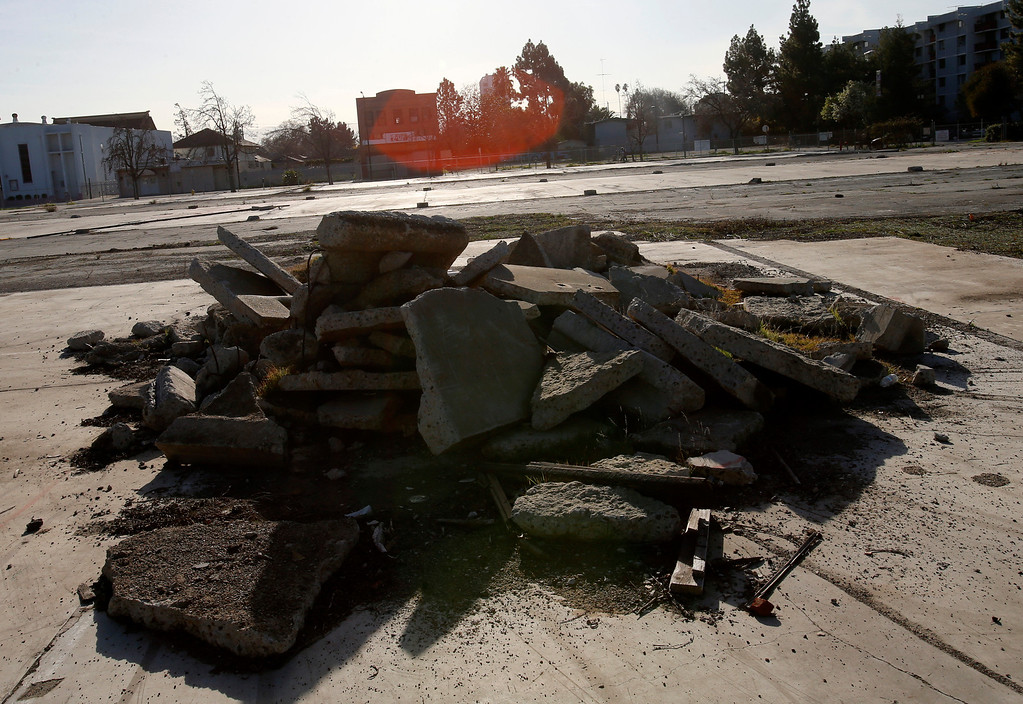 . An empty lot at looking west on N. 7th St. in-between E. Taylor St. and Jackson St. in Japantown in San Jose, Calif., on Monday, Feb. 25, 2013.  After years of on-again, off-again plans for development of five acres of the city�s former Corporation Yard in Japantown, the San Jose City Council on Tuesday is expected to approve a term sheet with a developer in an effort to revitalize Japantown with housing, retail, an urban plaza, performance space and strong historical connection.  (Nhat V. Meyer/Staff)
