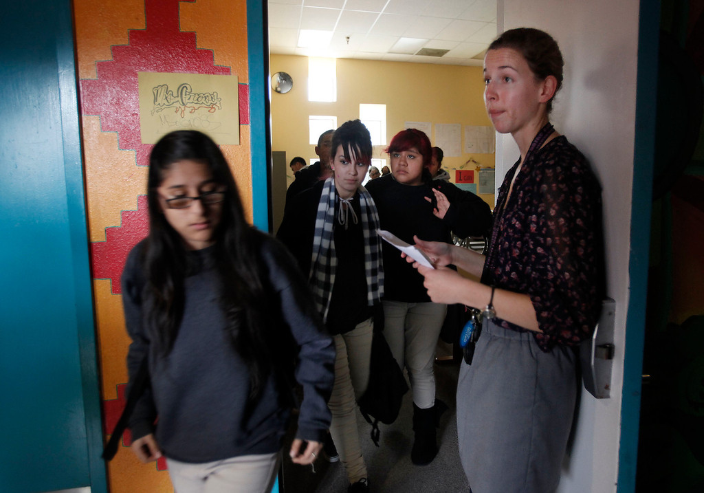 . Audrey Gross releases her students after teaching an algebra class at ACE Charter High School in San Jose, Calif. on Wednesday, Dec. 05, 2012. The school is in its first year of existence. (Karl Mondon/Staff)