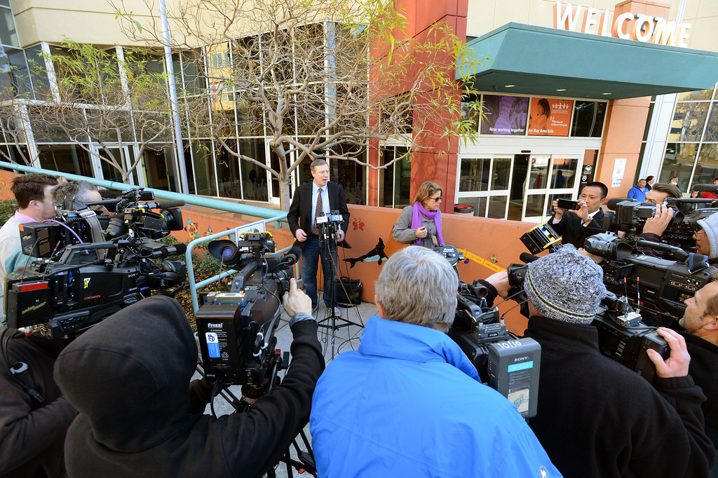 . Children\'s Hospital Oakland spokesperson Sam Singer addresses the media regarding Jahi McMath in Oakland, Calif., on Monday, Dec. 30, 2013. (Kristopher Skinner/Bay Area News Group)