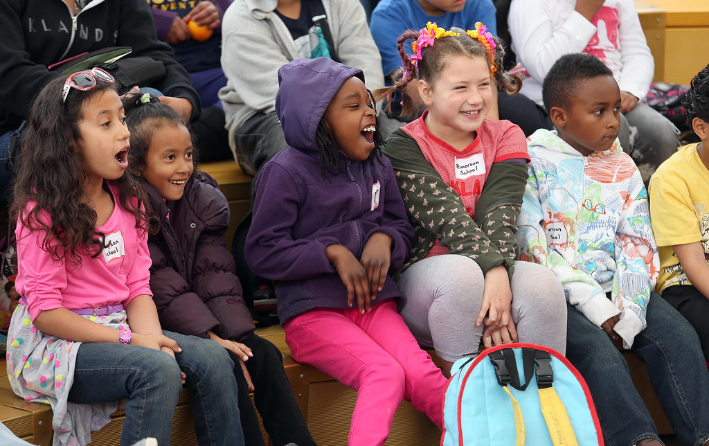 """. Children from Emerson Elementary School watch San Francisco Shakespeare actors perform \""""A Midsummer Night\'s Dream\"""" on the Aesop\'s Playhouse stage at Children\'s Fairyland in Oakland, Calif., on Friday, March 15, 2013. Over 400 second and third-graders were expected to attend. (Jane Tyska/Staff)"""