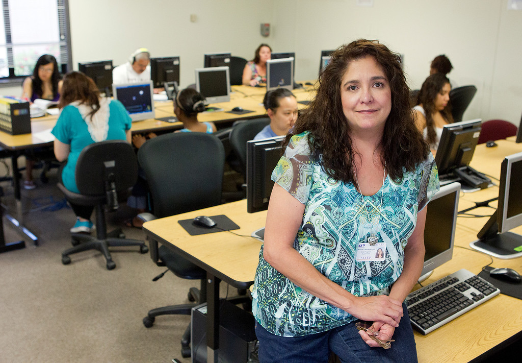 . GED Chief Examiner Karen Enzensperger at the computer lab of the Metropolitan Adult Education Program (MetroED) in San Jose, Calif. on Tuesday, July 2, 2013.  (LiPo Ching/Bay Area News Group)