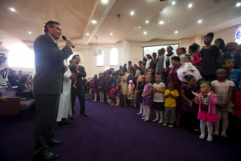 . California State University Chancellor Timothy White, left, speaks to school-age congregants at Glad Tidings Church of God in Christ during a service at the church, Sunday, March 10, 2013 in Hayward, Calif. White visited the church as part of the annual Super Sunday event to encourage African Americans to attend college. (D. Ross Cameron/Staff)