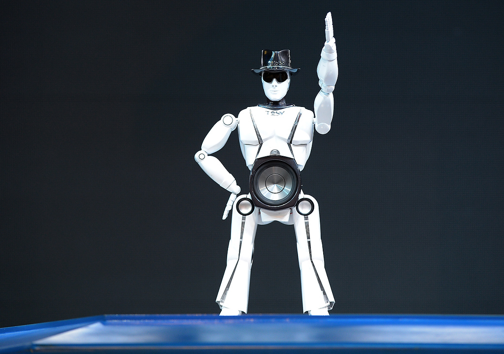 . Robot from Vietnam\'s Tosy Future Robot dances to music  at the Las Vegas Convention Center on January 9, 2013 in Las Vegas, Nevada. (JOE KLAMAR/AFP/Getty Images)