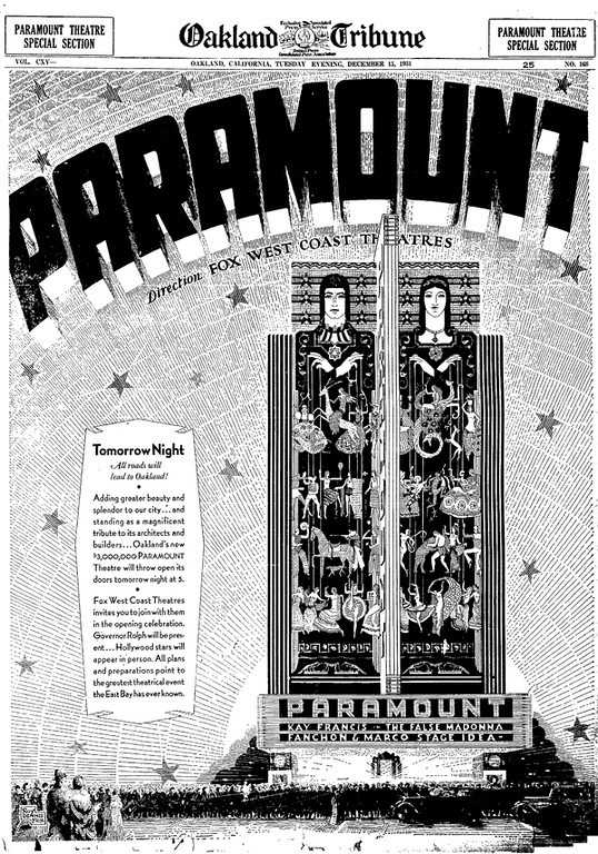 . For the opening of the Paramount Theatre, the Oakland Tribune in December 1931 published a six-page special section dedicated to the festivities. (Bay Area News Group Staff Archives)