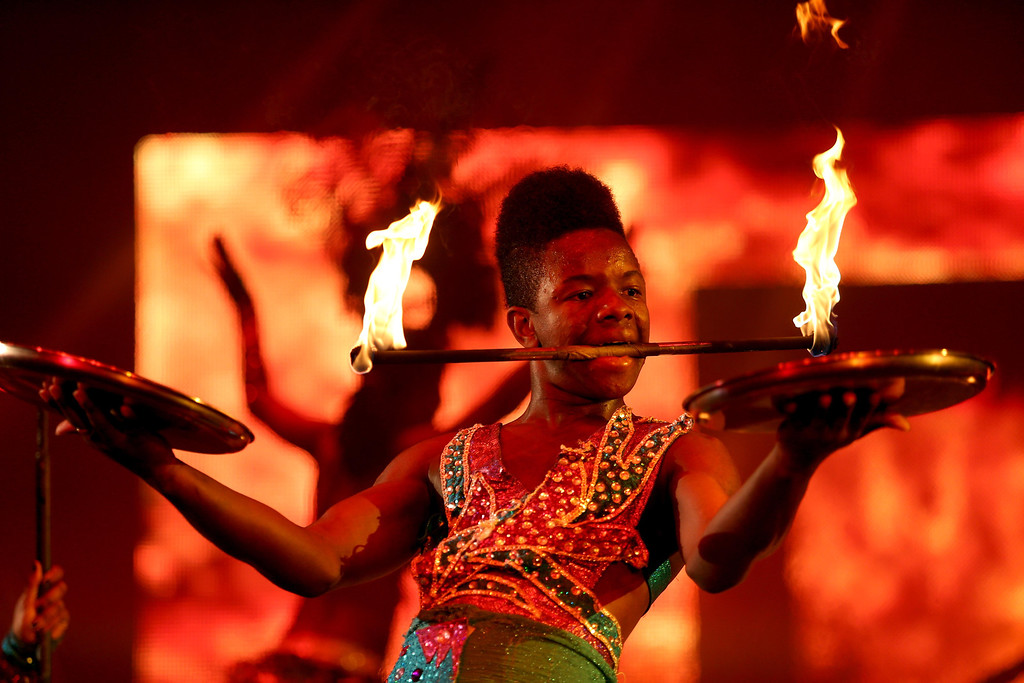 . A fire performer does a routine during the Caribbean segment as UniverSoul Circus performs under the big top on Hegenberger Road in Oakland, Calif., on Friday, April 5, 2013.  (Jane Tyska/Staff)