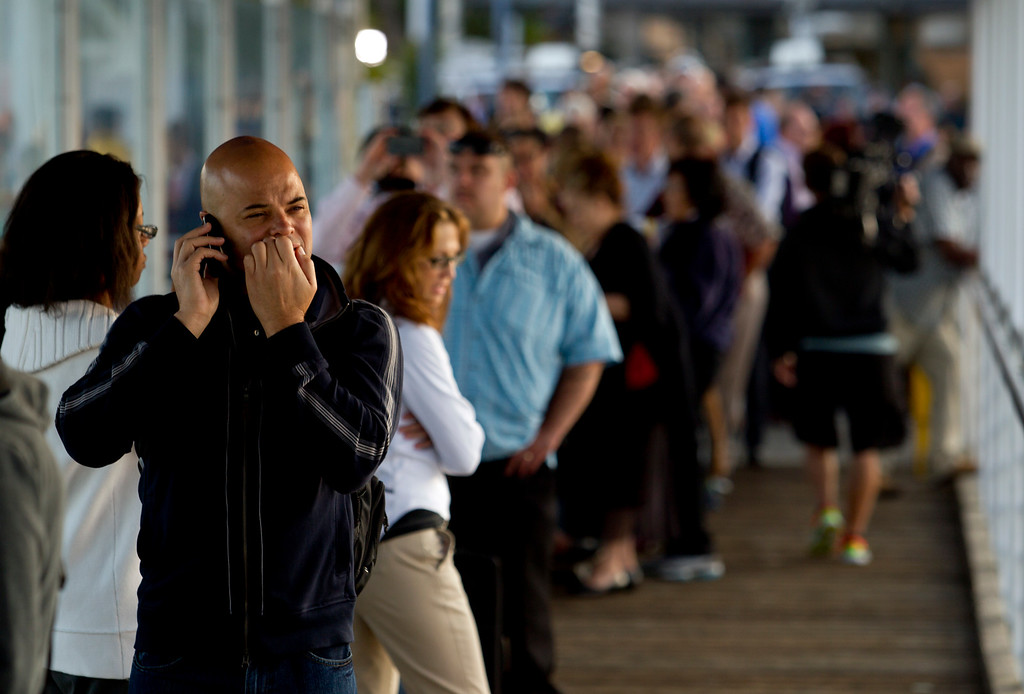 . A long queue of ferry riders wait to board a boat at Jack London Square, as BART commuters scrambled to find alternative routes to San Francisco on the first day of a strike by workers of the mass transit system, Monday, July 1, 2013 in Oakland, Calif. (D. Ross Cameron/Bay Area News Group)