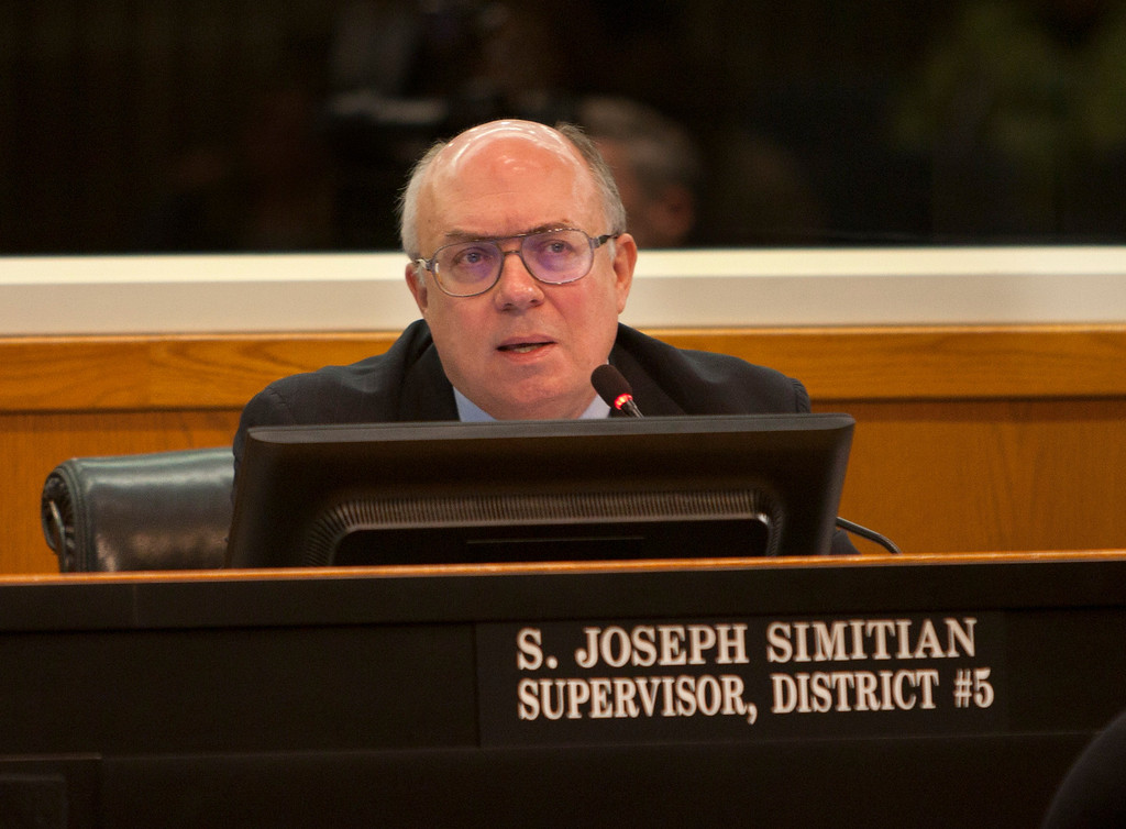 . Supervisor Joseph Simitian makes a point as Santa Clara County Supervisors hold a special meeting Tuesday, March 5, 2013 at the County Government Center in San Jose. The meeting was to decide how to fill the District 2 post vacated by George Shirakawa Jr., who resigned Friday after criminal charges were filed against him. (Patrick Tehan/Staff)