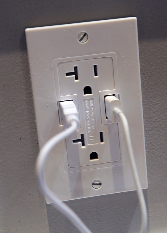 . A Power 2U AC/USB outlet by Other World Computing is on display at a press event at the Mandalay Bay Convention Center for the 2013 International CES on January 6, 2013 in Las Vegas, Nevada. The 20 amp outlet will sell for USD 40 and will be available in February. (Photo by David Becker/Getty Images)