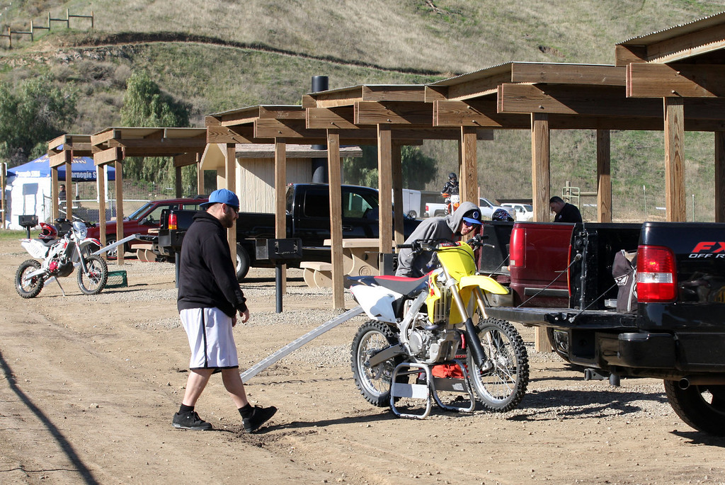 ". Riders get ready for a day of riding at the Carnegie State Vehicular Recreation Area in the hills west of Tracy, Calif., on Sunday, Feb. 10, 2013.The state has plans to expand the park but a group called ""Save Tesla Park\"" opposes the idea. (Jim Stevens/Staff)"