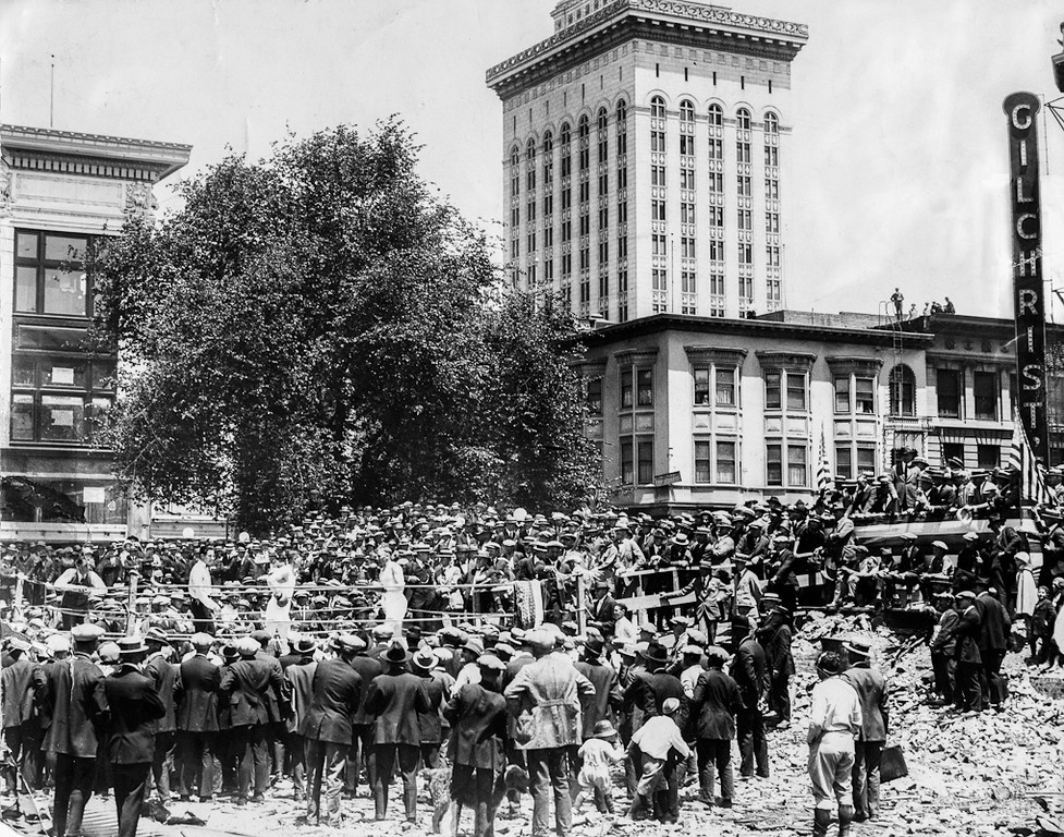 """. Oakland, CA July 2, 1924 - An open air boxing show was part of the ground-breaking ceremony for the Athens Athletic Club at 12th and Clay Streets. (Edward \""""Doc\"""" Rogers / Oakland Tribune)"""
