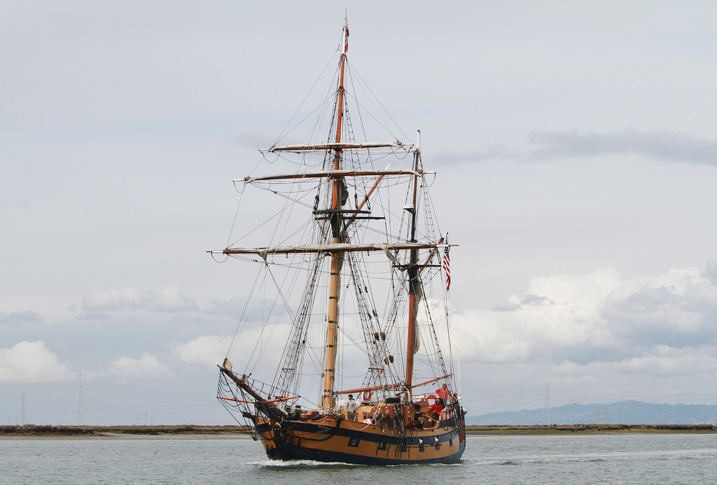 . The Hawaiian Chieftain, a replica of an 18th century tall ship, sails into the Port of Redwood City on Thursday, March 7, 2013. The Hawaiian Chieftain is one of two historical ships that will visit the port and be open for public tours, sailing excursions, and educational programs starting today, Friday, March 8, 2013. The Hawaiian Chieftain and the Lady Washington will be at the Redwood City port until March 19. For more information, visit http://www.redwoodcityport.com/.  (Kirstina Sangsahachart/ Daily News)