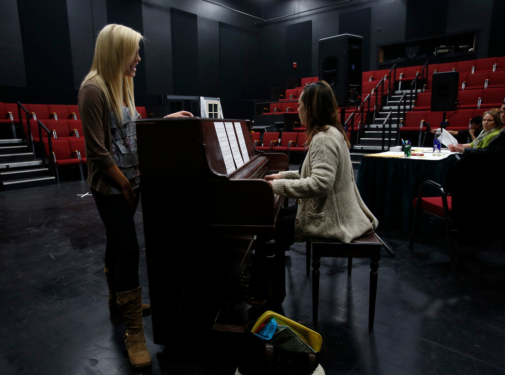 . Erin Ortegon, left, sings with while Dolores Duran, musical director for Great America, plays the piano during her audition during a casting call for Great America theme park for their various characters and dancers in Hall Todd Theatre at San Jose State University on Wednesday, Feb. 6, 2013.  (Nhat V. Meyer/Staff)