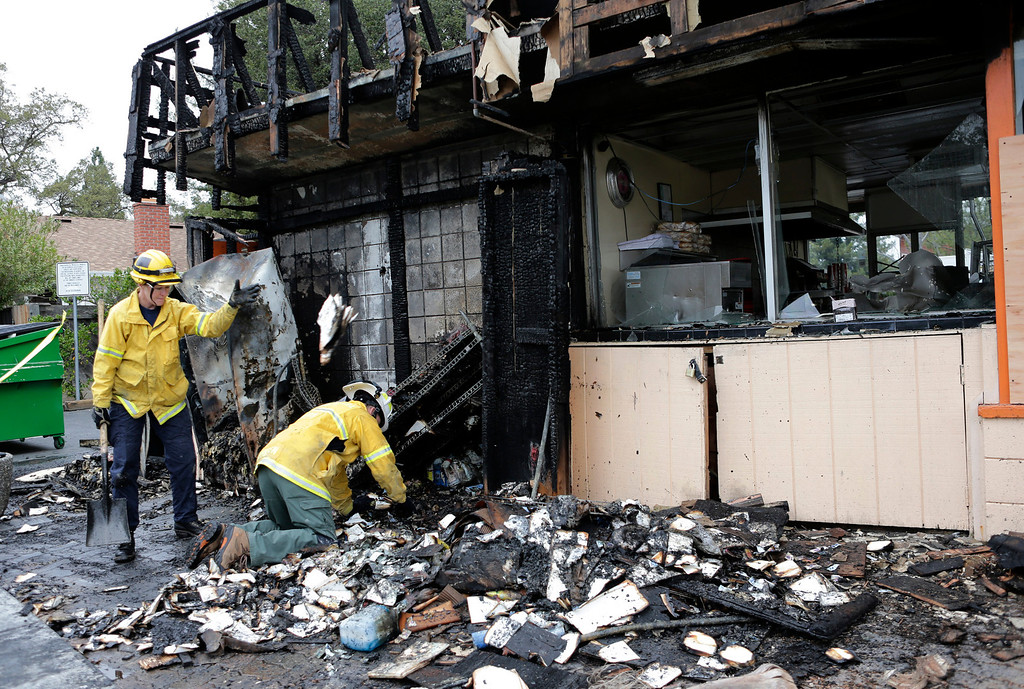 . Santa Clara County Fire Department arson investigators look through the rubble at the Happy Hound restaurant following an early morning fire in Los Gatos, Calif. on Monday, March 4, 2013. The family owned restaurant has been a Los Gatos landmark for over forty years. (Gary Reyes/ Staff)