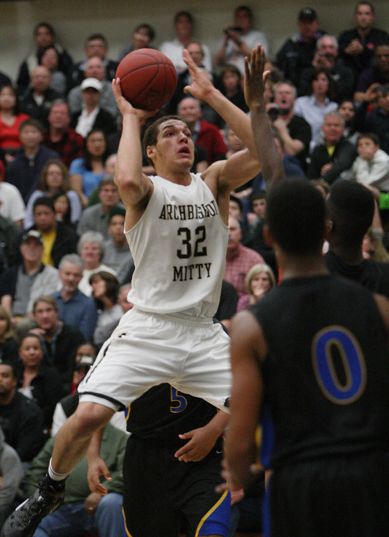 . Mitty\'s Aaron Gordon shoots in the third quarter of the NorCal Open Division first round game at Archbishop Mitty High School in San Jose, Calif. on Saturday, March 9, 2013. The Archbishop Mitty Monarchs beat the Newark Memorial High School Cougars, 63-51. (Jim Gensheimer/Staff)