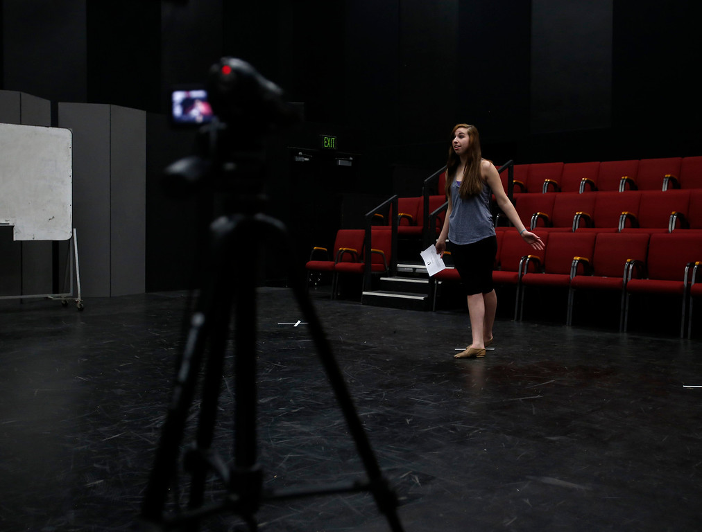 . Sarah Kuhs is video taped during her audition during a casting call for Great America theme park for their various characters and dancers in Hall Todd Theatre at San Jose State University on Wednesday, Feb. 6, 2013.  (Nhat V. Meyer/Staff)