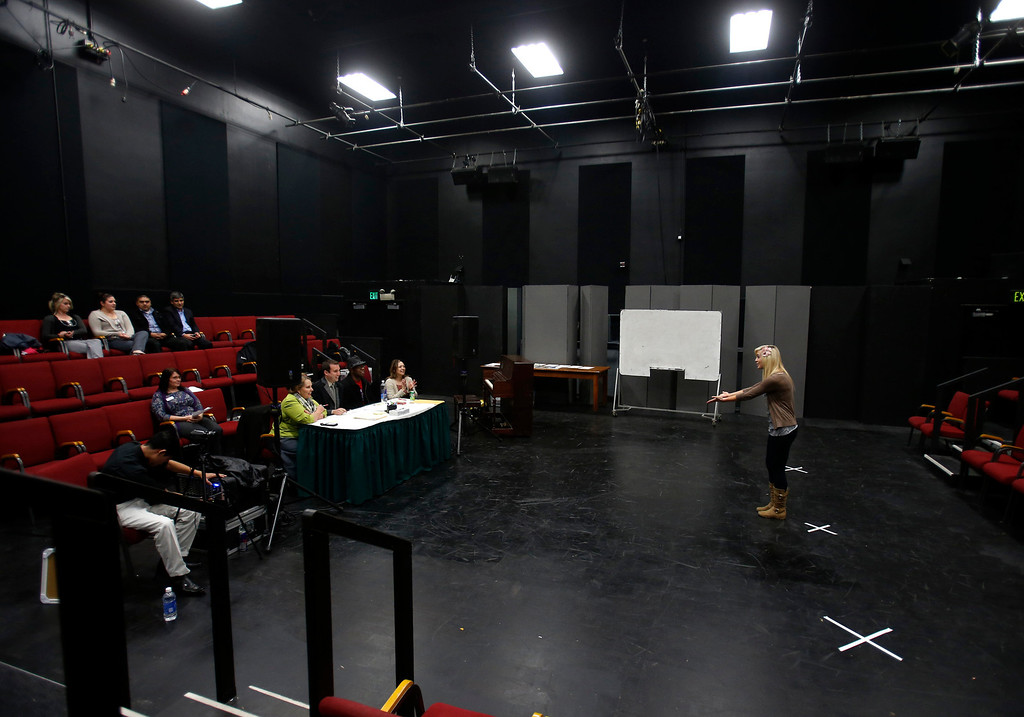 . Erin Ortegon, right, auditions during a casting call for Great America theme park for their various characters and dancers in Hall Todd Theatre at San Jose State University on Wednesday, Feb. 6, 2013.  (Nhat V. Meyer/Staff)