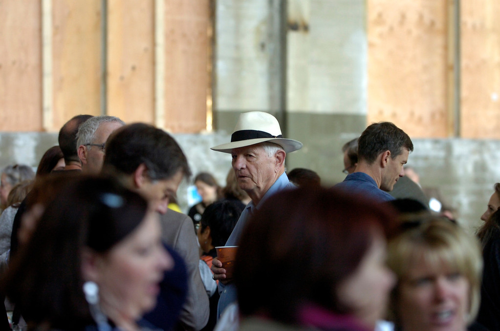 . Visitors, including Berkeley Mayor Tom Bates, in hat, get a sneak peek at the interior of what will be part of the new Berkeley Art Museum/Pacific Film Archive in Berkeley, Calif. on Tuesday, April 30, 2013. (Kristopher Skinner/Bay Area News Group)