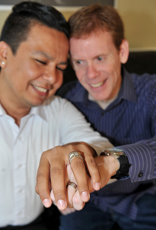 . David Moreno and Edward Goff have known each other for 15 years and been in a committed relationship for 5 years. They had a wedding in September 2009 but now they will be able to have a legal marriage in the state of California. (Brittany Murray/Los Angeles News Group)