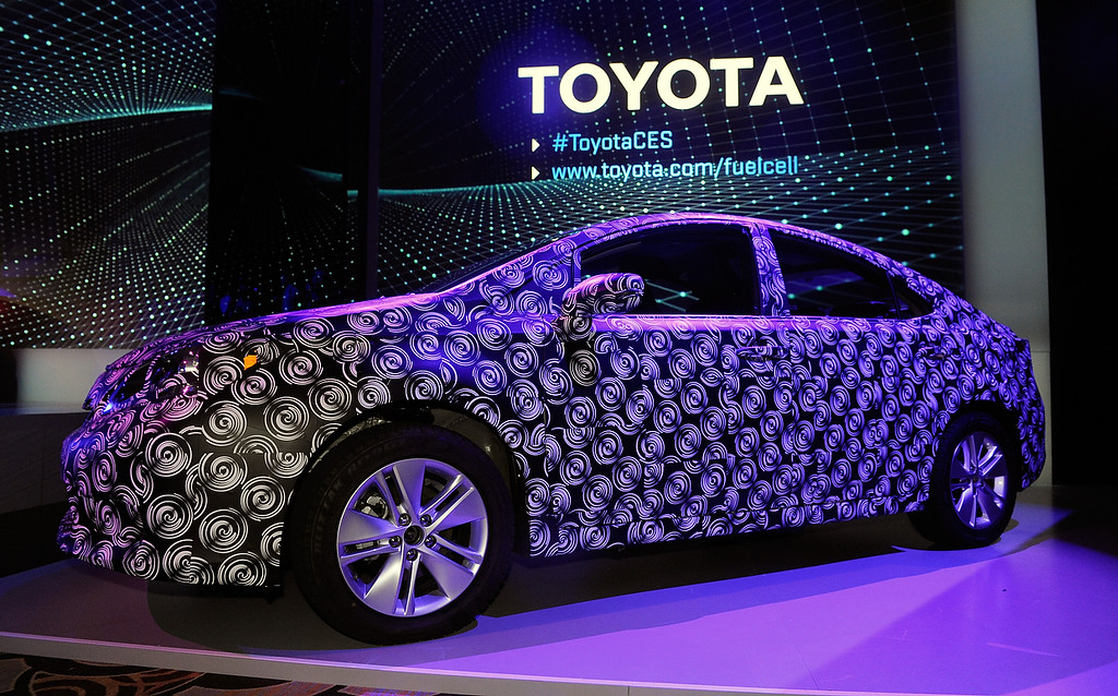 """. A \""""frankenstein vehicle\"""" is displayed during a Toyota press event at the Mandalay Bay Convention Center for the 2014 International CES on January 6, 2014 in Las Vegas, Nevada. (David Becker/Getty Images)"""