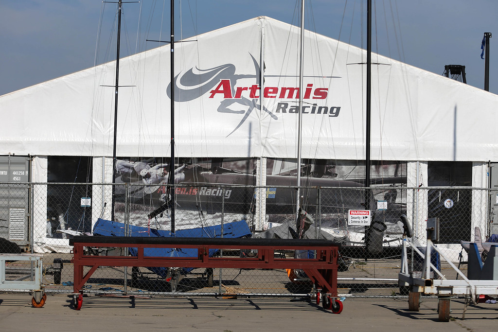 . The Artemis Racing headquarters was quiet before Chief Executive Officer Paul Cayard spoke to the media during a short press conference at the Artemis Racing headquarters at the former Alameda Naval Air Station in Alameda, Calif., on Thursday, May 9, 2013.  (Jane Tyska/Bay Area News Group)