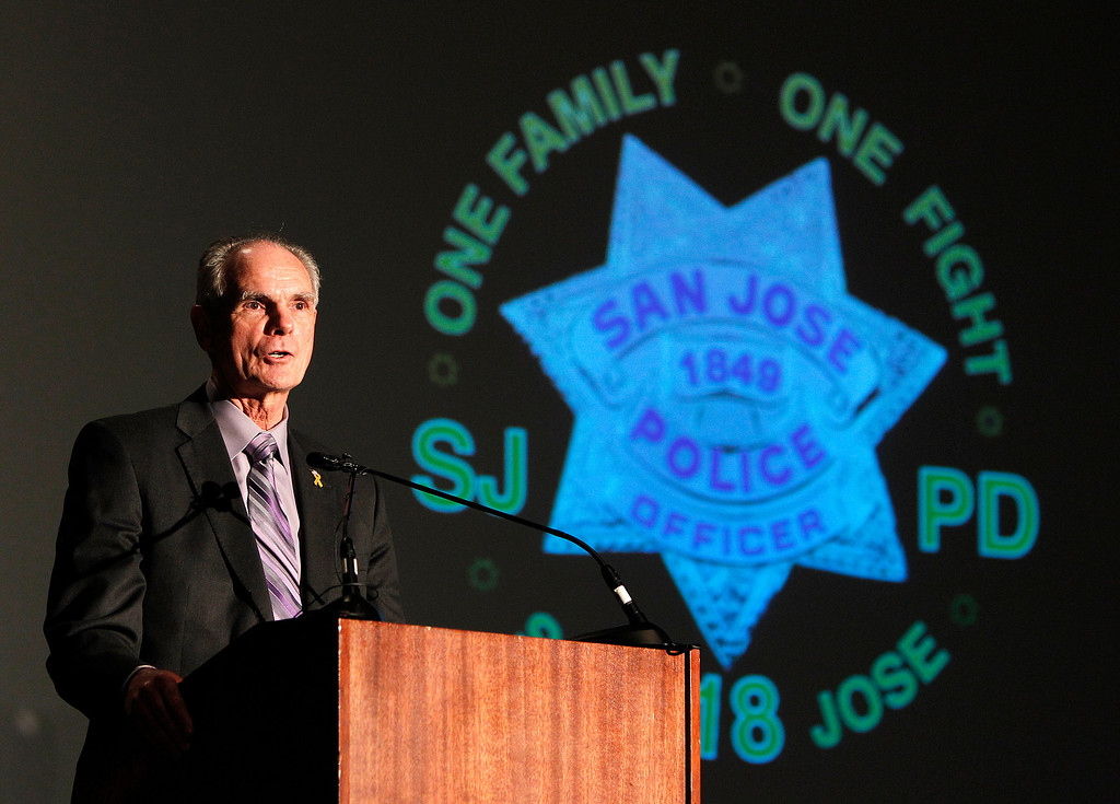 . San Jose Mayor Chuck Reed speaks to the Officer Recruits at the San Jose Police Academy graduation in San Jose, Calif. on Friday, March 15, 2013.   (LiPo Ching/Staff)