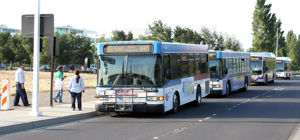 . Wheels buses from the Livermore Amador Valley Transit Authority used temporary stops on Willow Rd. near Owens Dr. in Pleasanton, Calif. on Monday, July 1,, 2013 to pick-up passengers that would normally be picked up at the Pleasanton-Dublin  Station. A strike by BART employees created commute traffic nightmares throughout the Bay Area on Monday. (Jim Stevens/Bay Area News Group)