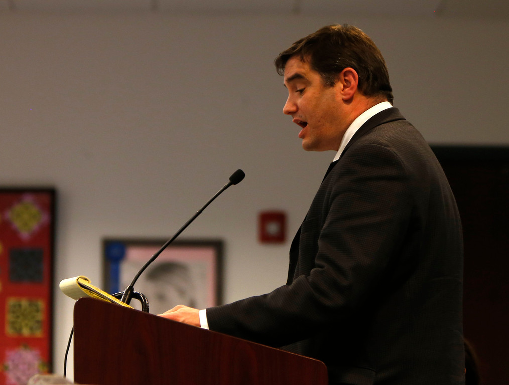 . Chris Stampolis talks to the Santa Clara County Board of Education during public comment regarding Rocketship Education\'s petition to open a new school during a board meeting at the Santa Clara County Office of Education San Jose, Calif. on Wednesday, Jan. 23, 2013.  (Nhat V. Meyer/Staff)