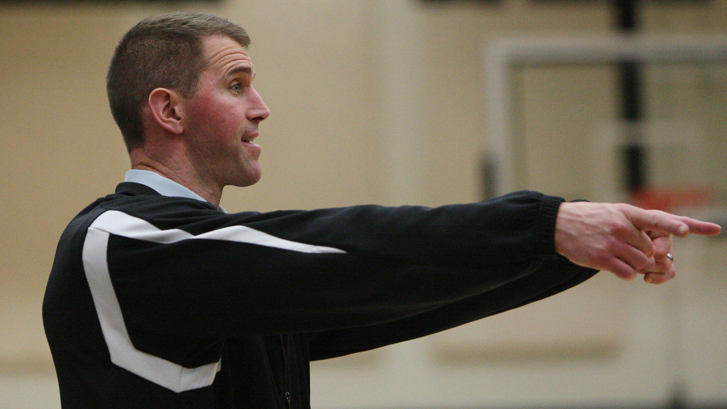 . Mitty coach Tim Kennedy calls out to his players in the fourth quarter of the NorCal Open Division first round game at Archbishop Mitty High School in San Jose, Calif. on Saturday, March 9, 2013. The Archbishop Mitty Monarchs beat the Newark Memorial High School Cougars, 63-51. (Jim Gensheimer/Staff)