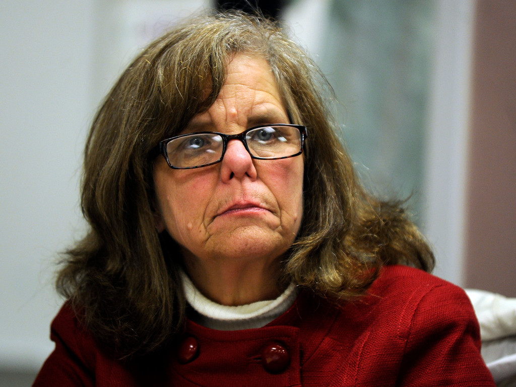 . School board member Tobi Laird Benz listens to parents concerns at a Brentwood Union School District school board meeting held in Brentwood, Calif. on Wednesday, Jan. 23, 2013.  (Susan Tripp Pollard/Staff)