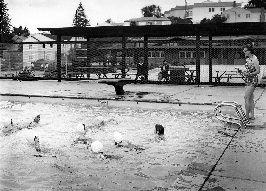 . Anna Head School  students swim for at their new location on Lincoln Ave. in Oakland, Calif in 1966. (Oakland Tribune Archives)