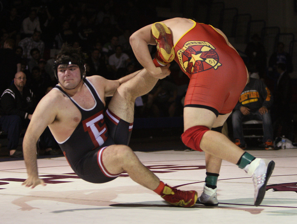 . Palma\'s Hildelv Manzur takes down Fremont\'s Gary Miltenberger to win the 285 pound class during the CCS wrestling championships at Independence High School in San Jose, Calif. on Saturday, Feb. 23, 2013. (Jim Gensheimer/Staff)