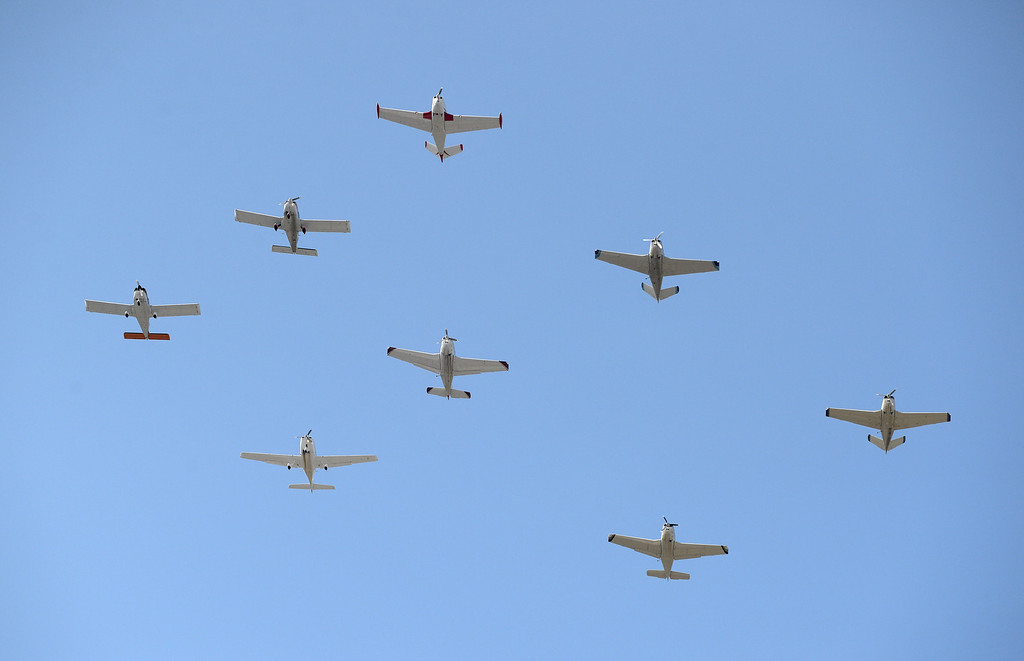 . Planes fly over the parade route at the Fourth of July parade in Fremont, Calif., on Thursday, July 4, 2013. The parade featured more than 70 entries. (Dan Honda/Bay Area News Group)